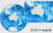 Shaded Relief Location Map of Australia, lighten, desaturated, land only