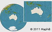 Shaded Relief Location Map of Australia, satellite outside