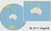 Shaded Relief Location Map of Australia, savanna style outside