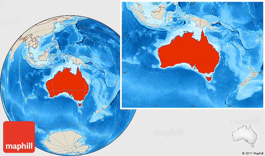 Australia Location Map.Shaded Relief Location Map Of Australia