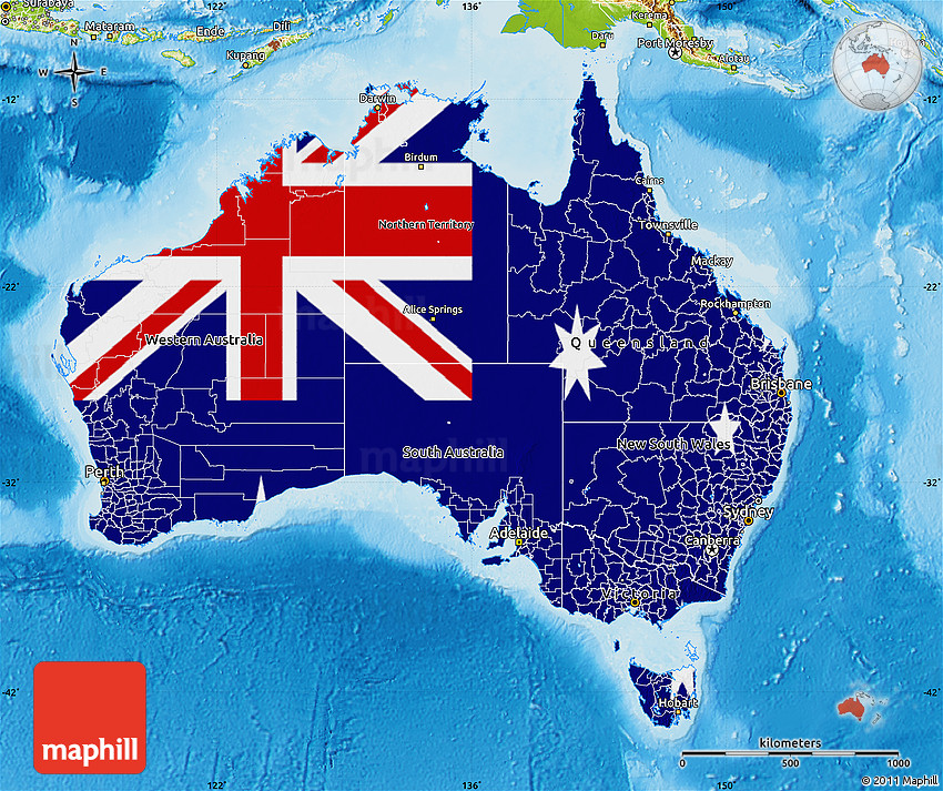 Flag Map Of Australia Physical Outside - Australia physical map