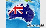Flag Map of Australia, physical outside
