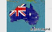 Flag Map of Australia, satellite outside
