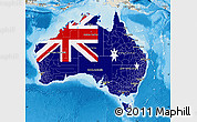 Flag Map of Australia, shaded relief outside