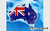 Flag Map of Australia, single color outside, bathymetry sea