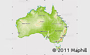 Physical Map of Australia, cropped outside