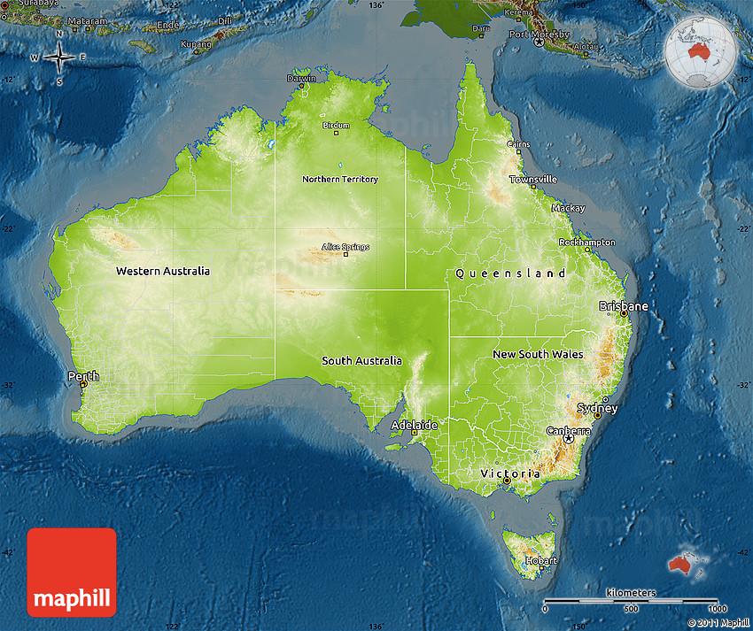 Physical Map of Australia darken