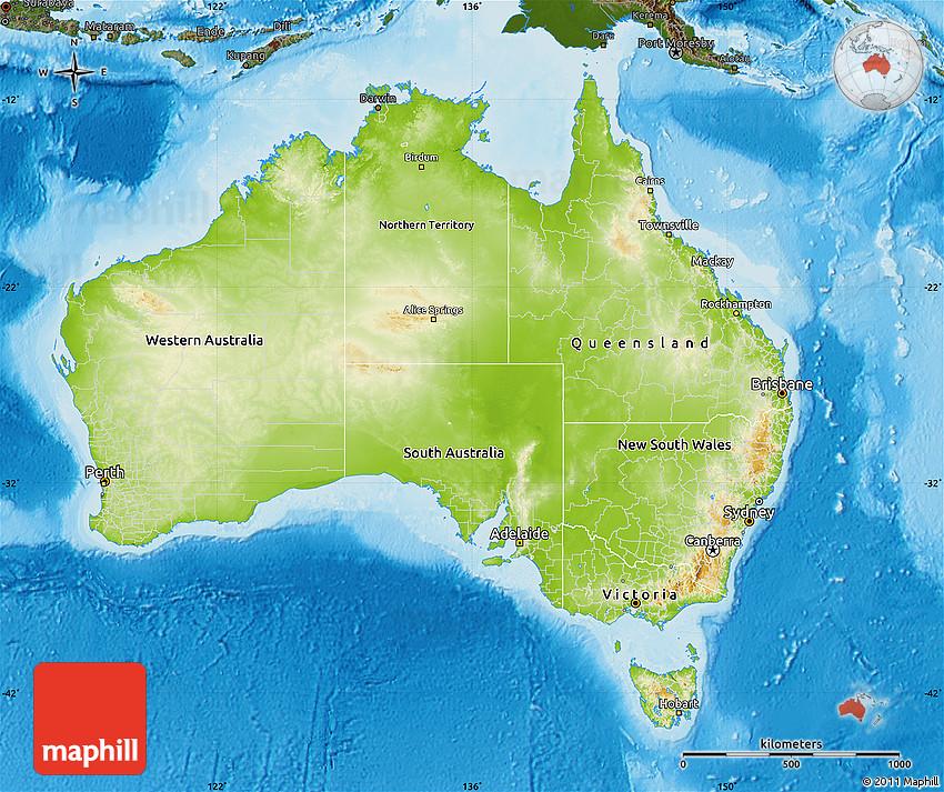 Australia Land Map.Physical Map Of Australia Darken Land Only