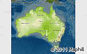 Physical Map of Australia, darken