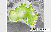 Physical Map of Australia, desaturated