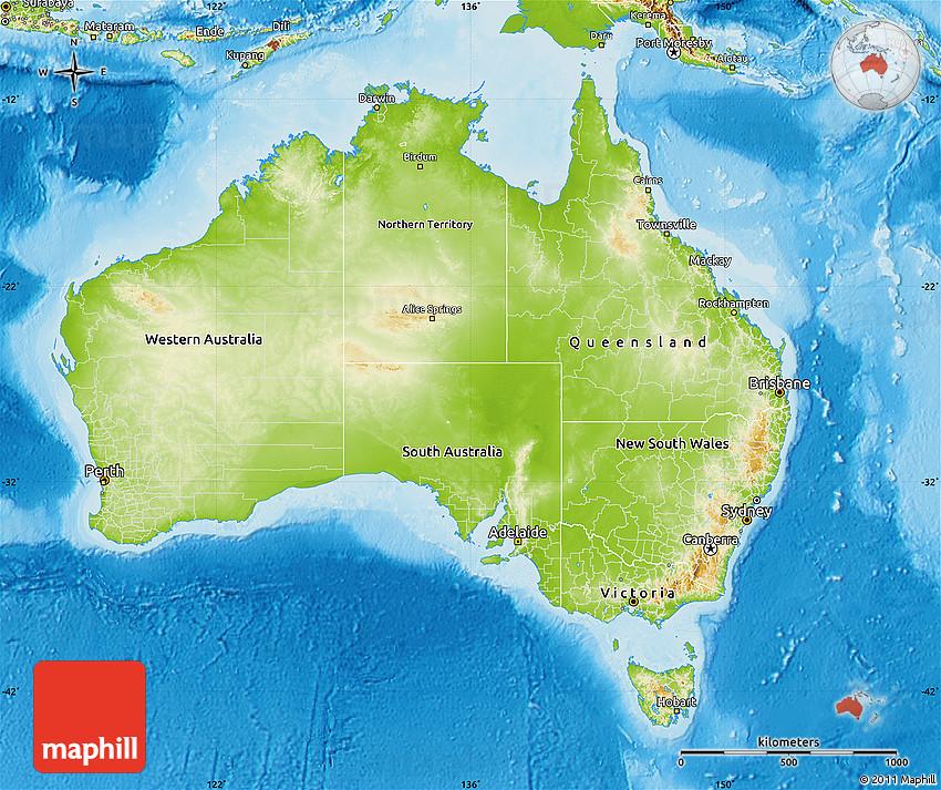 Physical Map Of Australia - Physical map of oceania