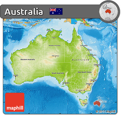 Free Physical Map of Australia, political outside, shaded relief sea