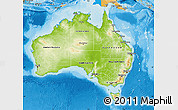Physical Map of Australia, political shades outside, shaded relief sea