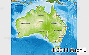 Physical Map of Australia, satellite outside, shaded relief sea