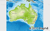 Physical Map of Australia, semi-desaturated, land only