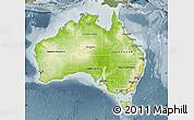 Physical Map of Australia, semi-desaturated