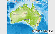 Physical Map of Australia, shaded relief outside