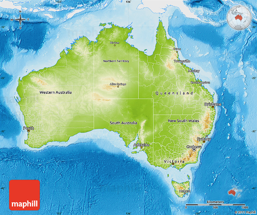 What Does Australia Look Like On A Map.Physical Map Of Australia Single Color Outside
