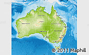 Physical Map of Australia, single color outside