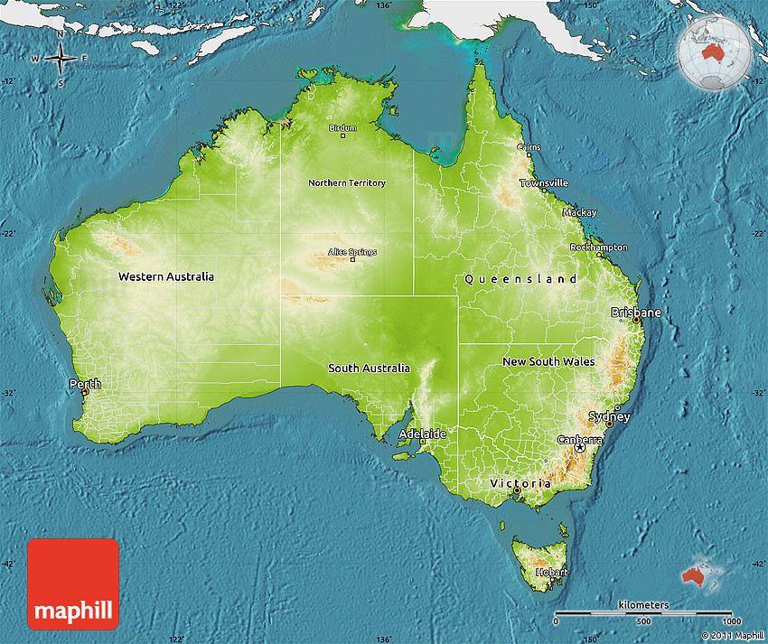 Physical Map Of Australia Single Color Outside Satellite Sea - Australia physical map