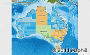 Political Map of Australia, satellite outside, bathymetry sea