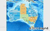 Political Map of Australia, semi-desaturated, land only