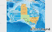 Political Map of Australia, shaded relief outside, bathymetry sea