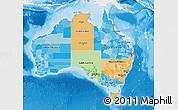 Political Map of Australia, single color outside