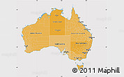 Political Shades Map of Australia, cropped outside