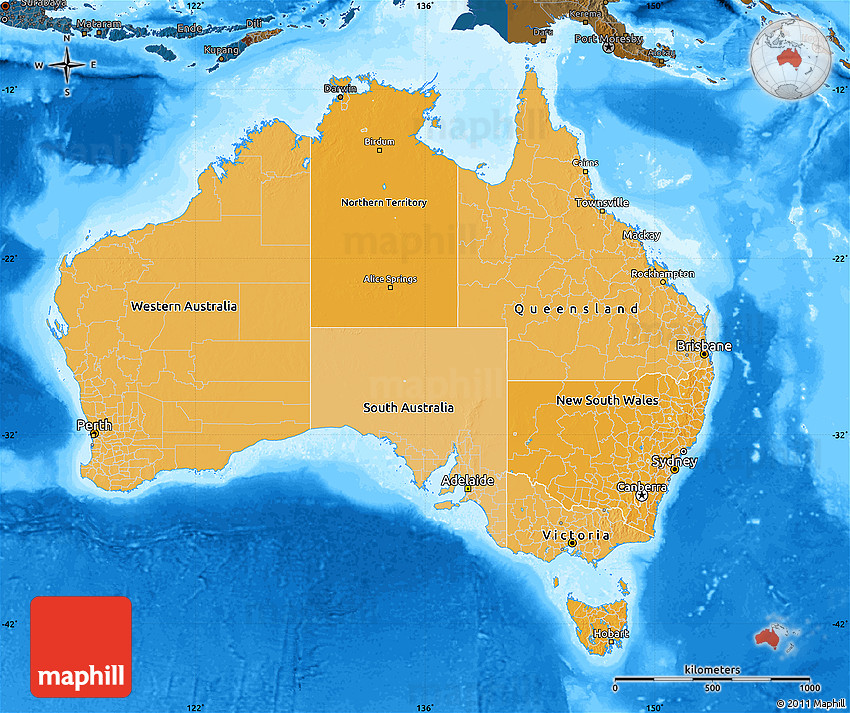 Political Shades Map Of Australia Darken Land Only - Australia maps with countries