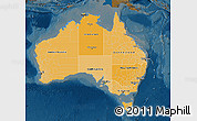 Political Shades Map of Australia, darken