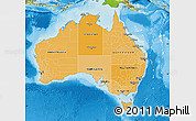 Political Shades Map of Australia, physical outside