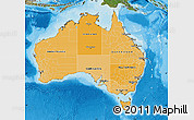 Political Shades Map of Australia, satellite outside, bathymetry sea