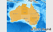 Political Shades Map of Australia, semi-desaturated, land only