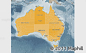 Political Shades Map of Australia, semi-desaturated