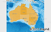 Political Shades Map of Australia, shaded relief outside, bathymetry sea