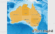 Political Shades Map of Australia, single color outside