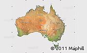 Satellite Map of Australia, cropped outside
