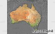 Satellite Map of Australia, desaturated