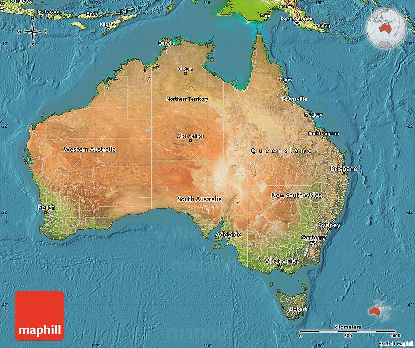 satellite map of australia  physical outside  satellite sea