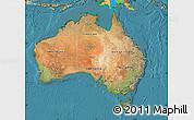 Satellite Map of Australia, political outside, satellite sea