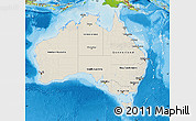 Shaded Relief Map of Australia, physical outside