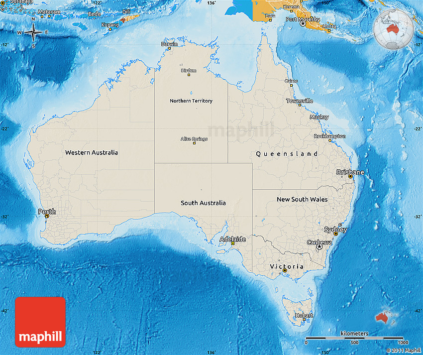 Shaded Relief Map of Australia, political shades outside ...