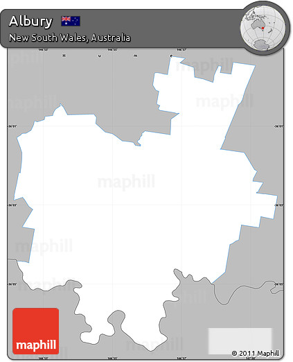 Free Gray Simple Map of Albury