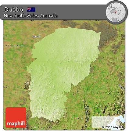 Australia Map Dubbo.Free Physical Map Of Dubbo Satellite Outside