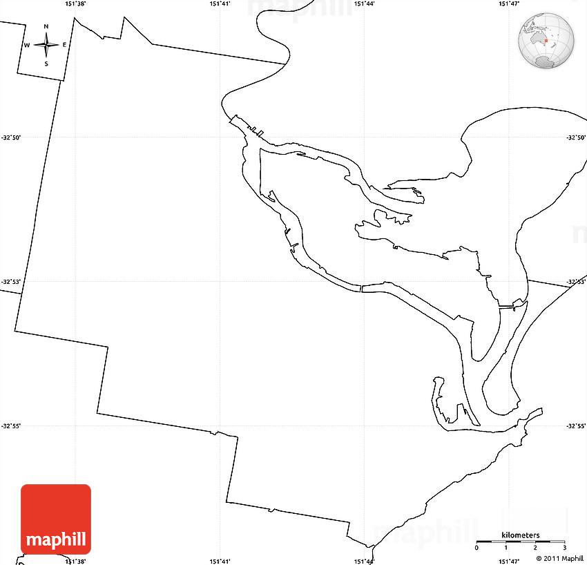 Australia Map Newcastle.Blank Simple Map Of Newcastle