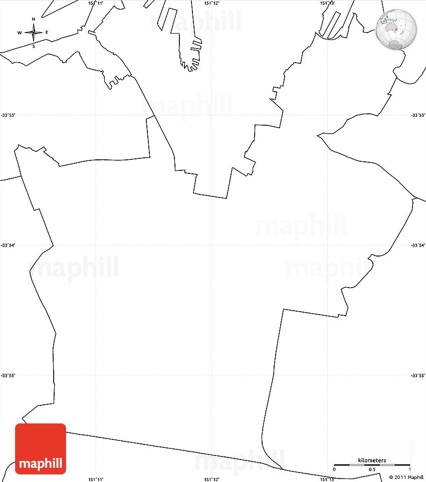 Blank Simple Map Of South Sydney - Australia political map blank