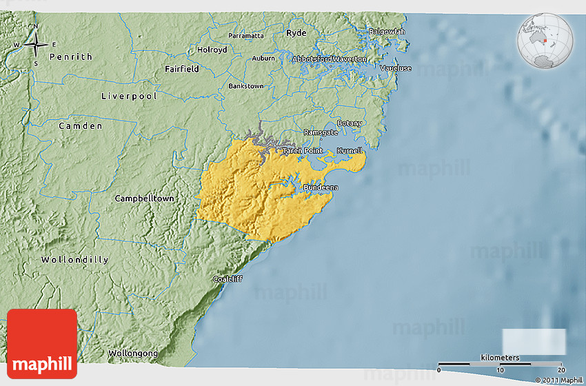 Savanna Style 3D Map of Sutherland Shire