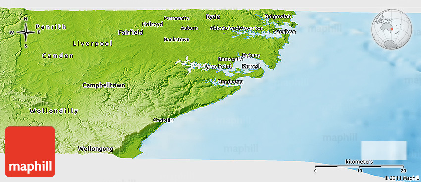 Physical Panoramic Map of Sutherland Shire