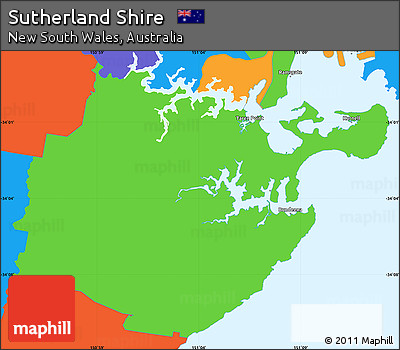 Free Political Simple Map of Sutherland Shire